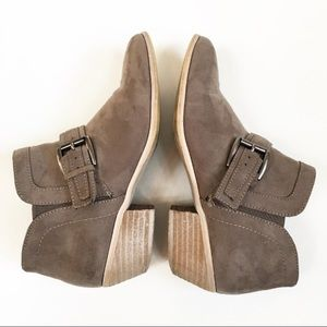 Taupe Gray Suede Booties With Belt Accent